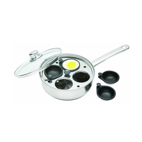 Clearview Kitchen Craft Stainless Steel 4 Cup Egg Poacher Set by Kitchen (Kitchen Craft Egg Poacher Cups compare prices)