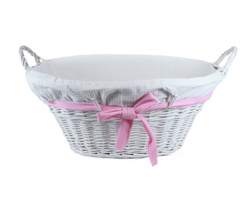 Lukasian House Small White Wicker Basket with Pink Bow & White Liner (Lukasian House Storage Basket compare prices)