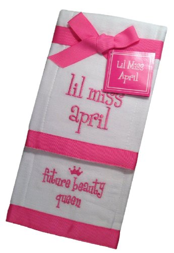 Lil Miss April Future Beauty Queen Baby Burp Cloths - Set of 2