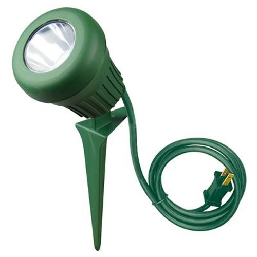Woods 0434 LED 60-Watt 200 Lumen Stake Light, Weather Resistant, Heavy Duty Stake, Durable Fixture, Polarized Plug with 3-Foot Cord, 5 LEDs, Green Finish, 2 Extra Red and Green Lenses (Color: Original Version, Tamaño: 1-Pack)