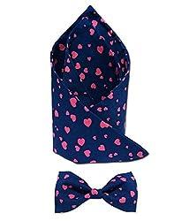 Combo of Vibhavari Men's Blue Bow Tie & Pocket Square