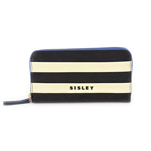 Portafoglio donna Sisley - Linea FLORA - Colore Blu/Beige/Nero
