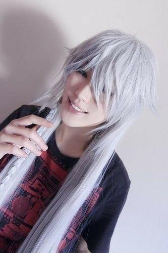 Black Butler Kuroshitsuji Undertaker Cosplay Silver White Wig+Wig Cap