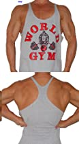 W300 World Gym String Mens Tank Top (L, Grey)