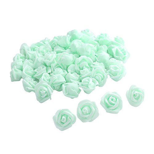 Fake Flower Heads,One Inch Roses bulk Bridal Shower Decorations Wedding Favor Centerpieces by Pparty (Light Green 80pcs)