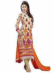 Meet Enterprise Hina Khan Semi Stitched Cream And Orange Salwar Kameez