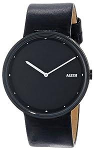 Alessi AL13003 - Reloj analógico automático para hombre, correa de cuero color negro