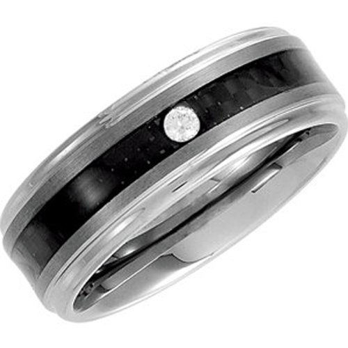 Tungsten Carbide, Single Diamond Carbon Fiber Inlay Flat Wedding Band, 1/20 cttw (sz 8.5)