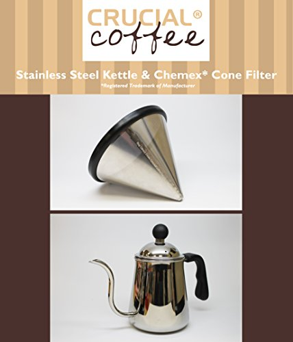 Premium Washable & Reusable Stainless Steel Cone Coffee Filter, Fits Chemex 6, 8 & 10 Cup Coffee Makers & Durable Pour Over Kettle, by Think Crucial (10 Cup Chemex Coffee Maker compare prices)