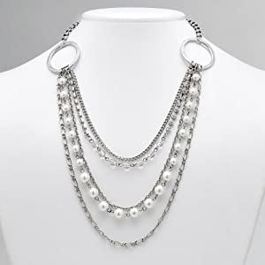 Click to buy Cheap Pearl Necklaces: Silver-Tone Multi-Strand Simulated Pearl and Rhinestone Necklace from Amazon!