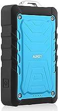 Aukey® 7500mAh Cargador Batería Externa portatil Dual USB, Resistente a lluvia, polvo y a prueba de choques, Linterna LED, Color Azul