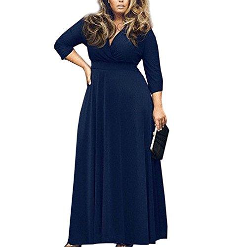Hellomamma Women V-Neck Plus Size Maxi Evening Dress Blue 3XL