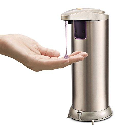 Elektronische-Sensor-Seifenspender-250-ml-kaysion-Premium-Automatische-Berhrungslose-Seifenspender-fr-Bad-Kche-Theken-Fingerabdruck-resistent-Edelstahl-gebrstet-Hndedesinfektion-compatibled
