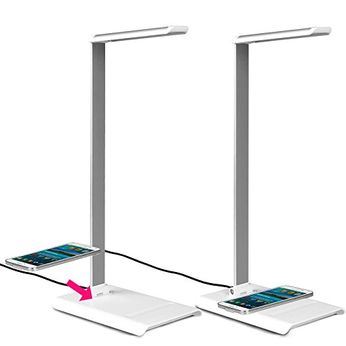 7W 7-Level Dimmer Rotatable Neck Eye-Care Led Desk Lamp Ml-300 With Touch-Sensitive Controller & Wireless Charging Pad (White)