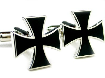 Black Iron Cross Cufflinks Gift Boxed