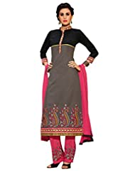 Inddus Women Black & Grey Embroidered Unstiched Dress Material
