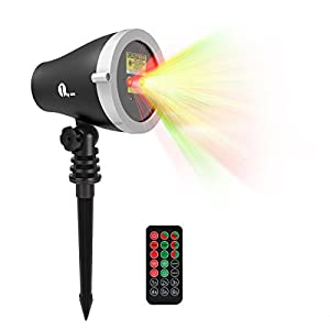 1byone Aluminum Alloy Outdoor Laser Christmas Light Projector with IR Wireless Remote, Red and Green Star Laser Show for Halloween, Christmas, Holiday, Party, Landscape, and Garden Decoration