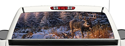 Truck SUV Whitetail Deer Hunting Snow Rear Window Graphic Decal Perforated Vinyl Wrap (22x66) (Hunting Rear Window Decal compare prices)