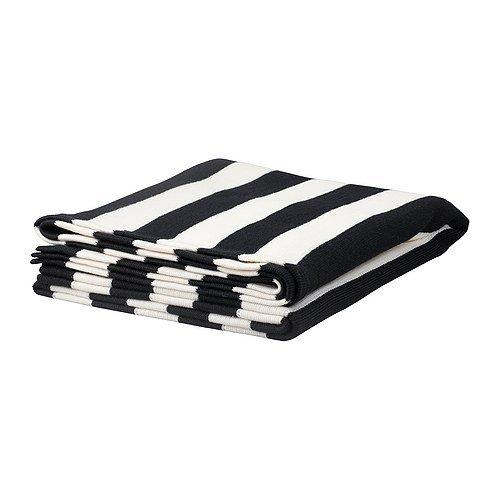 EIVOR ひざ掛け / ブラック/ホワイト(170×125cm)[イケア]IKEA(30212128)