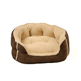 Happy Tails Designer Corduroy Cozy Pet Bed, Chocolate