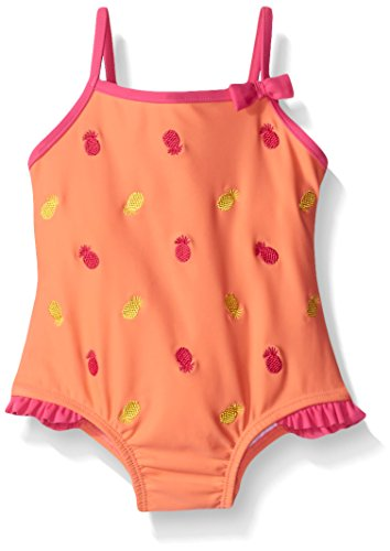 Tommy Bahama Girls' Infant One Piece Pineapple Swimsuit, Orange, 24 Months
