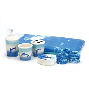 Dolphin 6 piece blue bathroom bath beauty for Blue bath accessories set