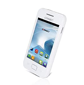 """CONNECT i101 Smartphone - Blanc -débloqué, 3.5"""" pouces écran tactile, Android 2.3, 1.0GHz processeur, 2.0Mpx caméra , 2G GPRS, WiFi, Bluetooth , Radio FM, batterie 1300mah, Skype, lampe de poche , Google Play Store"""