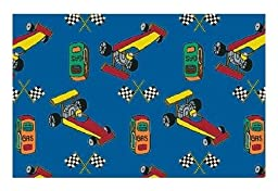 Pit Stop Race Car Blue Multi - 2\'x3\' Custom Stainmaster Premium Nylon Carpet Area Rug ~ Bound Finished Edges