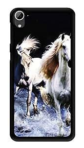 "Humor Gang Running Horses White Printed Designer Mobile Back Cover For ""HTC DESIRE 826"" (3D, Glossy, Premium Quality Snap On Case)"