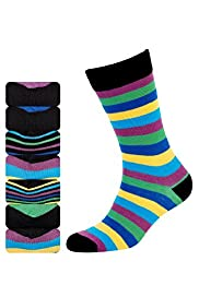 7 Pairs of Freshfeet&#8482; Cotton Rich Rainbow Striped Socks