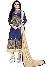 Siddeshwary Fab Blue And Beige Fancy Embroidered Self Designer Casual A-line Salwar Suit Dress Material