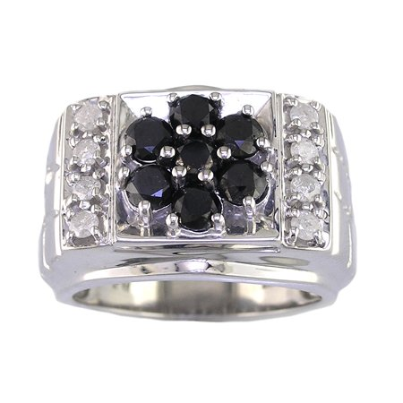 2.60 CT Men's Black & White Diamond Ring Antique Finish
