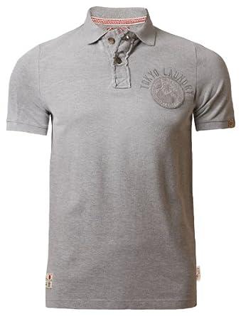 Mens Pique Polo Shirt T-shirt Tokyo Laundry 1X 3902 Short Sleeved Summer, Grey Marl, Small
