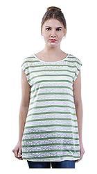 MERCH21 Women's Regular Fit Top (MERCH-382-WHITE, White and Green, S)