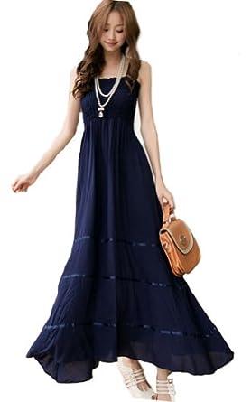 Demarkt Elegant Longue Robe Femmes en Voile Bretelle/ Couleur Bleu Fonce/ Taille Unique