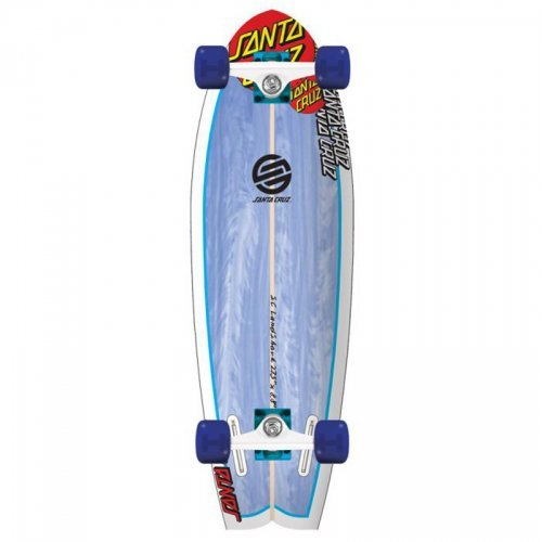 Santa Cruz Land Shark Complete Skateboard - White/Blue, 8.8 x 27.7 Inch