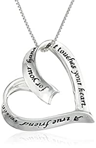 "Sterling Silver ""A True Friend Reaches For Your Hand But Touches Your Heart"" Ribbon Heart Pendant Necklace, 18"""