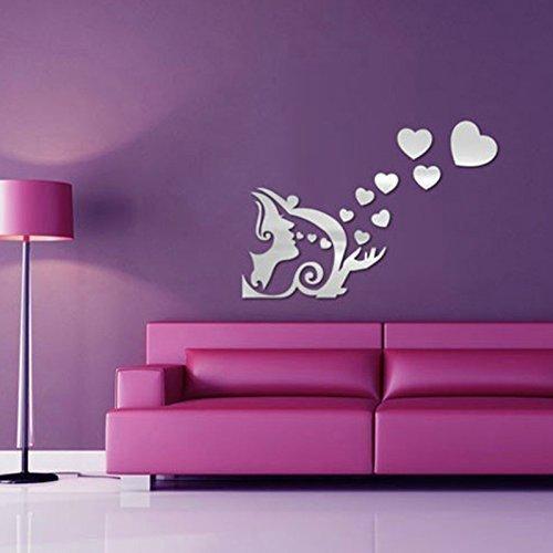 "Walplus ""Heart Shaped Kiss"" specchio poster murale, argento"