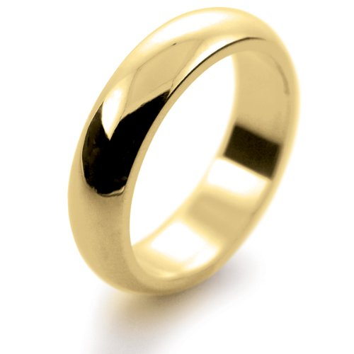 9ct Yellow Gold Wedding Ring D Shape Very Heavy - 5mm