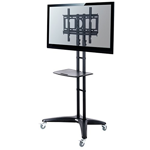 New Loctek TV Cart for LCD LED Plasma Flat Panels Stand with Wheels Mobile fits 32''-65''
