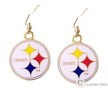 Aminco International NFL-ER-015-12 Logo Dangler Earrings - Pittsburgh Steelers at Steeler Mania