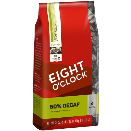 Eight O'Clock 50% Decaf Whole Bean Coffee, 36-Ounce