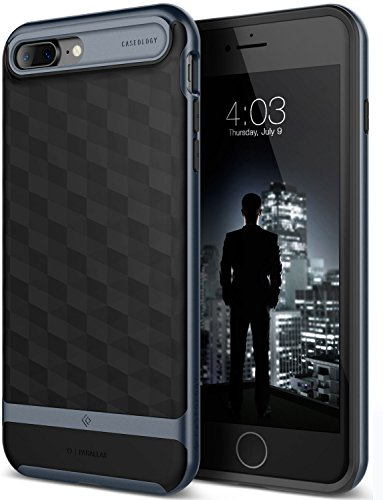 iPhone 7 Plus Case, Caseology [Parallax Series] Modern Slim Geometric Design [Black / Deep Blue] [Textured Grip] for Apple iPhone 7 Plus (2016)