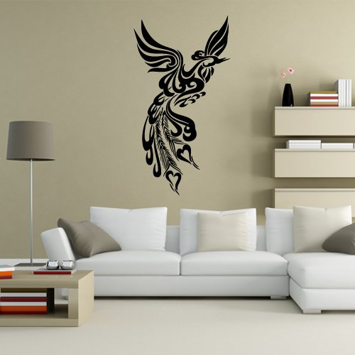 Wall Vinyl Sticker Decals Decor Art Bedroom Design Mural Poultry Firebird Peacock Peaflowl Bird Tribal (S27) front-1066239