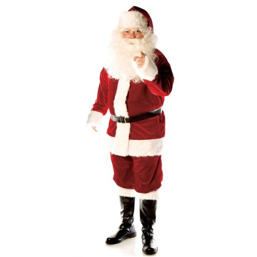 Deluxe Velvet Santa Suit Costume - One Size - Chest Size 42-46