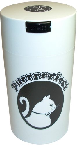 Pawvac 12 Ounce Vacuum Sealed Pet Food Storage Container; White Cap & Body/Black Cat