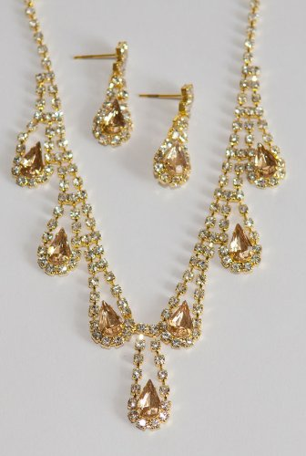 Soft Gold & Clear Crystal Rhinestone Necklace/Earring Set - Bridesmaid Jewelry