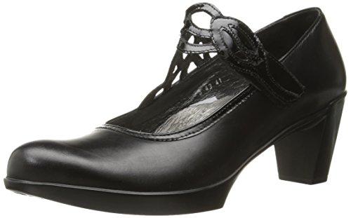 Naot Women's Luma Dress Pump, Black Madras Leather/Black Crinkle Patent Leather, 38