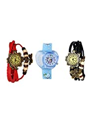 ANALOG KIDS WATCH WITH HELLO KITTY CARTOON PRINTED ON DIAL AND STRAP WITH 2 FREE WOMEN BRACELET WATCH-SET OF 3 - B01BF8UJL0