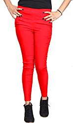 Xarans Stylish Red Cotton Lycra Botton Jegging